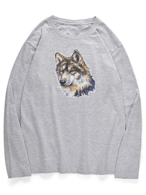 Camiseta con cuello redondo de perro lobo - Nube Gris S Mobile