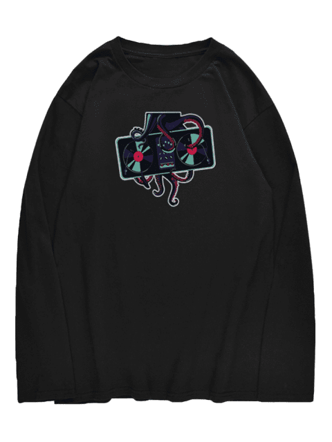 lady Crew Neck Octopus Printed T-shirt - BLACK XS Mobile