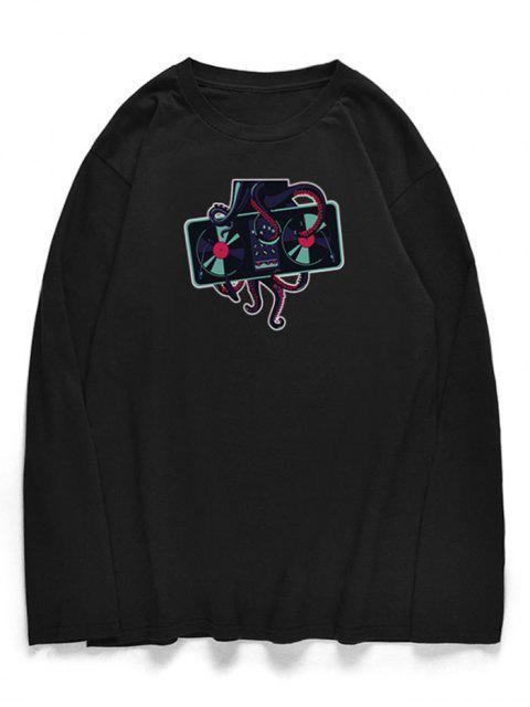 Pulpo cuello redondo camiseta estampada - Negro S Mobile