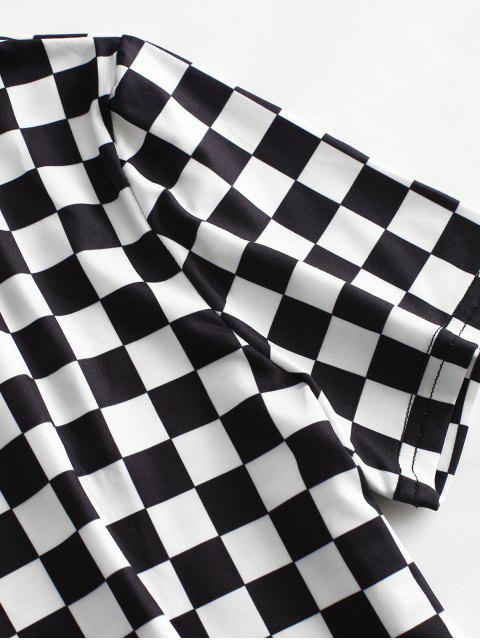 outfits ZAFUL Short Sleeve Checkered Tee - MULTI S Mobile