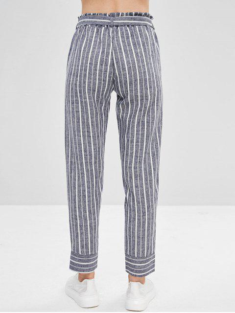 latest Belted Striped High Waisted Tapered Pants - DEEP BLUE S Mobile