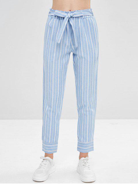 Pantalon Fuselé Rayé Ceinturé à Taille Haute - Bleu Léger  S Mobile