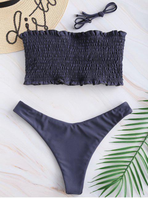 shops ZAFUL Frilled Padded Smocked Bikini Set - LIGHT SLATE GRAY S Mobile