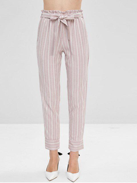 affordable Belted Striped High Waisted Tapered Pants - LIPSTICK PINK M Mobile
