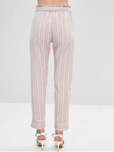 Pantalon Fuselé Rayé Ceinturé à Taille Haute - Rouge à Lèvres Rose M Mobile