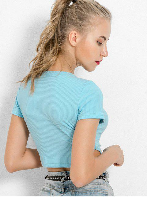 buy Ribbed Plain Crop Tee - LIGHT BLUE M Mobile
