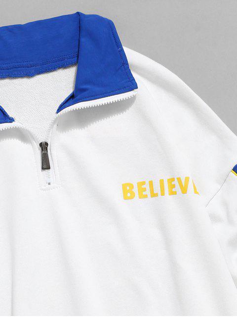 best Color Spliced Half Zip Pullover Sweatshirt - WHITE L Mobile