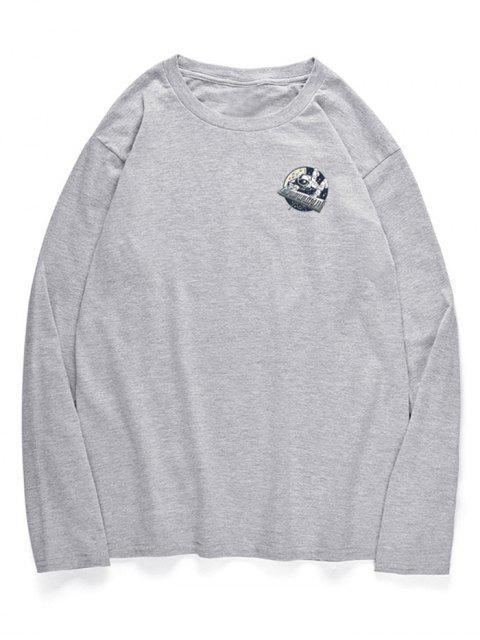 T-shirt à motif de piano astronaute à col ras du cou - Nuage Gris S Mobile