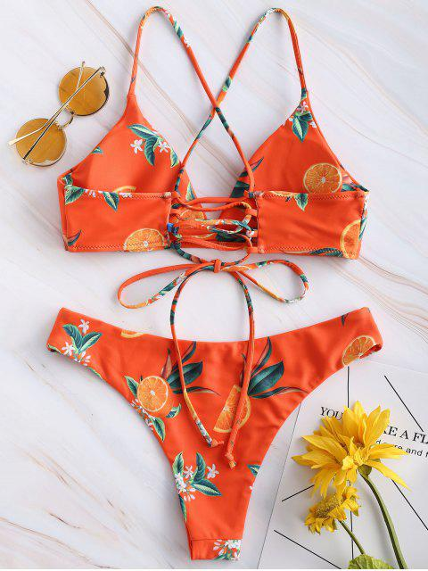unique ZAFUL Orange Print Criss Cross Bikini Set - PAPAYA ORANGE S Mobile