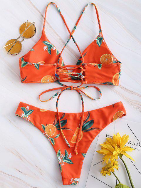 ZAFUL Ensemble de Bikini Croisé Orange Imprimée - Orange Papaye M Mobile