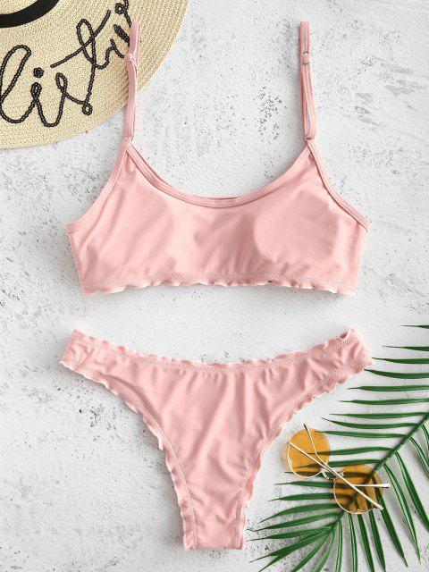 fashion ZAFUL Buttoned Lettuce Bralette Bikini Set - PIG PINK L Mobile