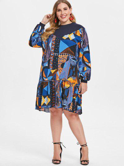a31cf1b3cb2 ... Printed Plus Size Drop Waist Dress - Multi
