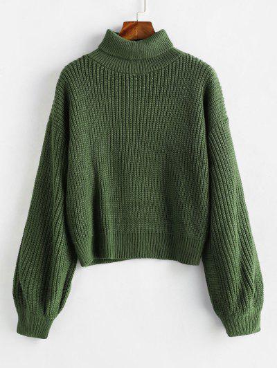 0772a22245ba Turtleneck Lantern Sleeves Chunky Sweater - Green ...
