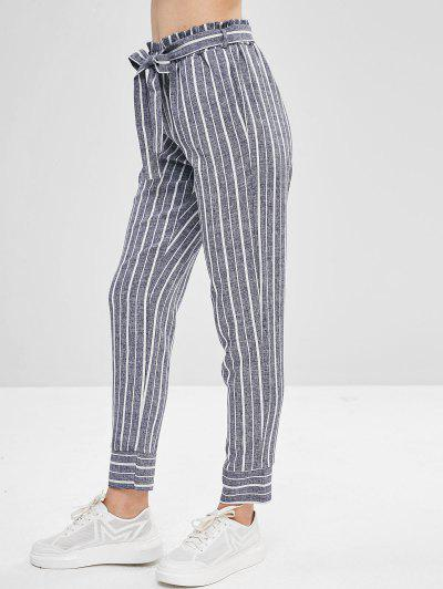 c9c475af93 Belted Striped High Waisted Tapered Pants - Deep Blue S ...