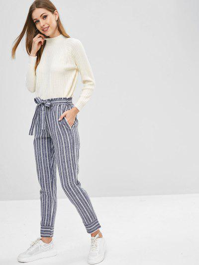 Belted Striped High Waisted Tapered Pants, Deep blue