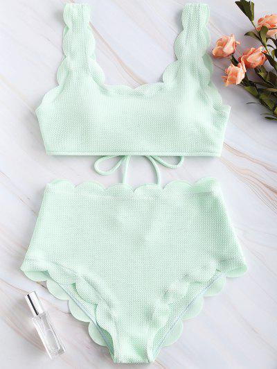 ZAFUL Scalloped Textured High Waisted Bikini Set - Mint Green L