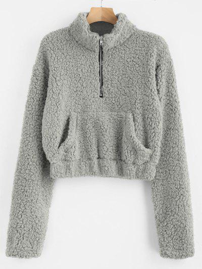 Half Zip Fluffy Faux Shearling Teddy Sweatshirt - Gray Cloud M