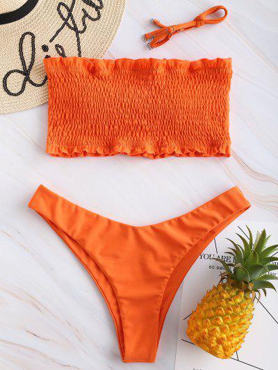 ZAFUL Frilled Padded Smocked Bikini Set - Papaya Orange L