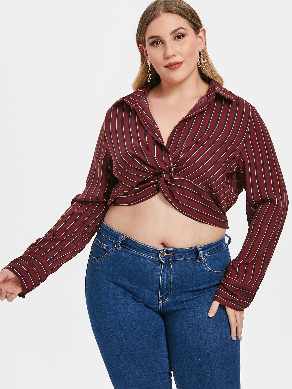 ZAFUL Striped Plus Size Twist Crop Blouse thumbnail