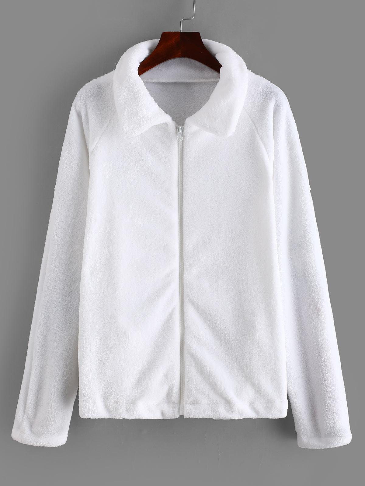 Zipper Raglan Sleeve Fluffy Jacket thumbnail