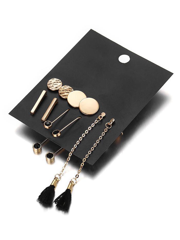5Pcs Ethnic Style Tassel Rhinestoned Drop Earrings Set