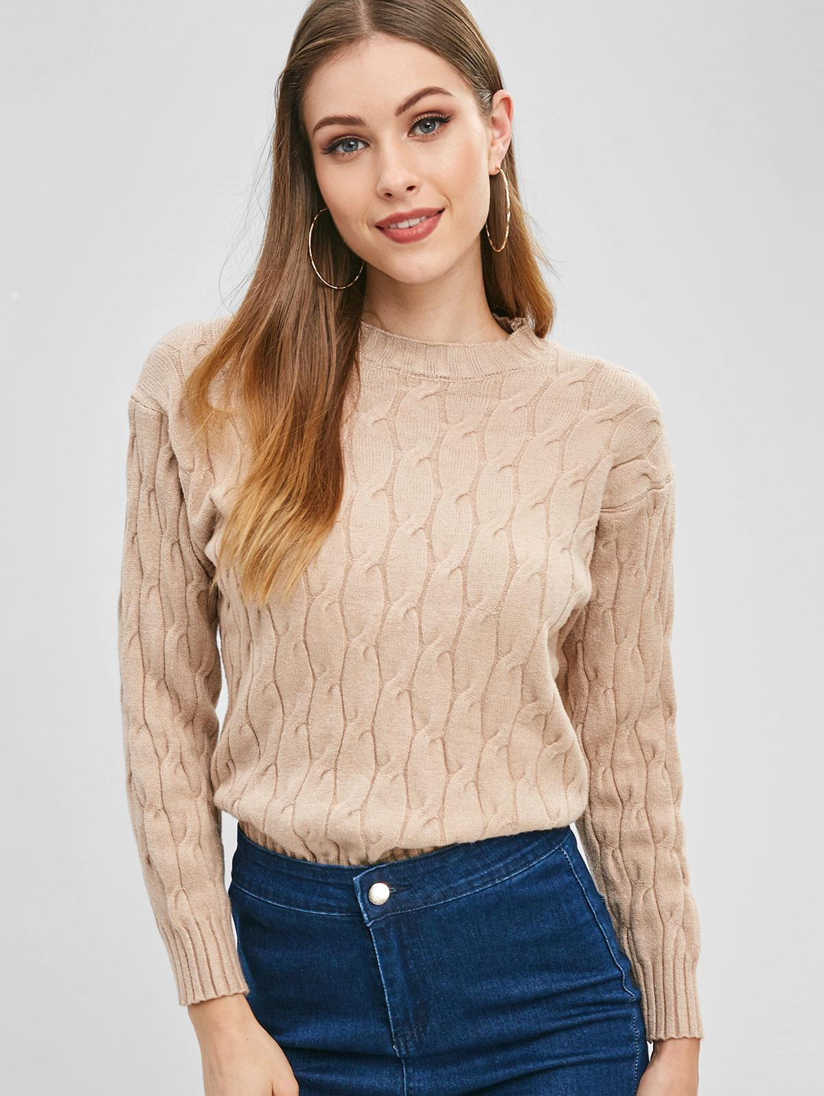 Cable Knit Crew Neck Sweater, Tan
