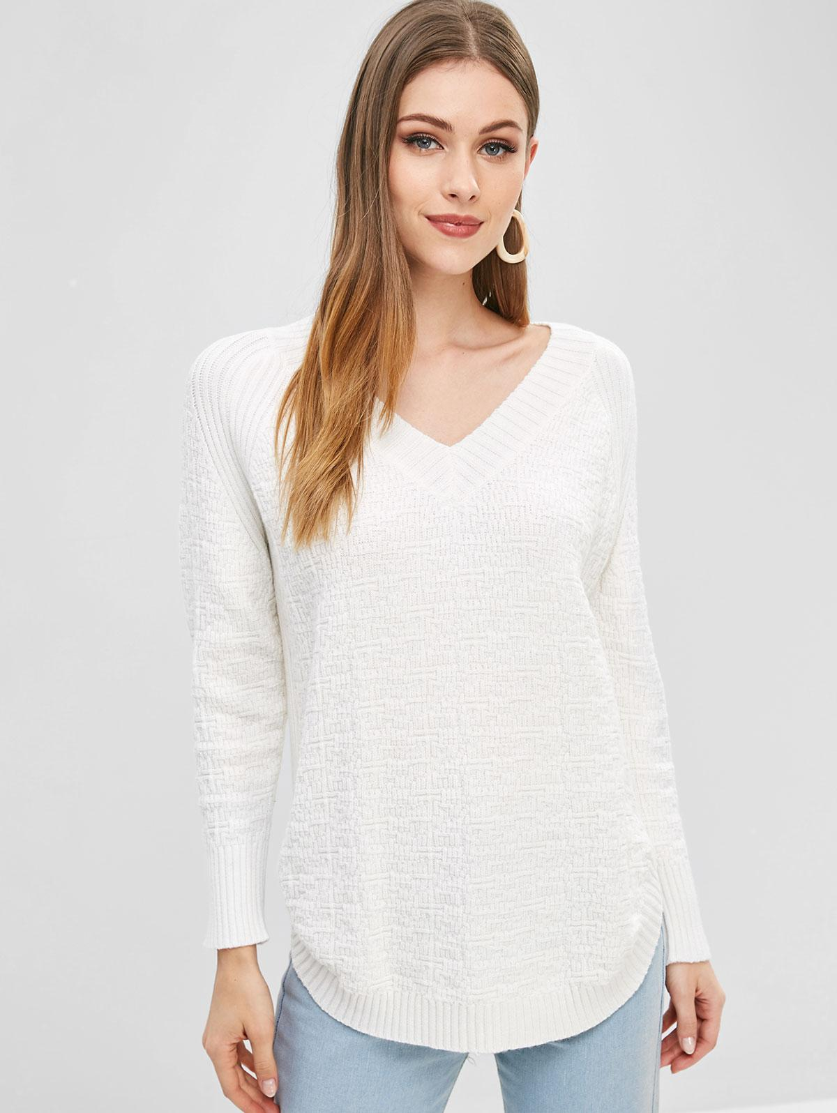 Curved Hem V Neck Sweater