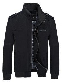 الوقوف الياقة جيوب سترة عادية - أسود M