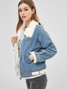 218e11765 Veste en jean d'hiver doublée de fausse fourrure à boucle