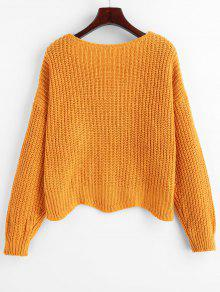 52f80e0738c 53% OFF   HOT  2019 Scalloped Hem Chunky Knit Cardigan In BEE YELLOW ...