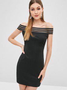 قبالة الكتف فستان ميني مخطط - أسود L