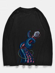 طاقم الرقبة الأخطبوط ميكروفون نمط القميص - أسود M