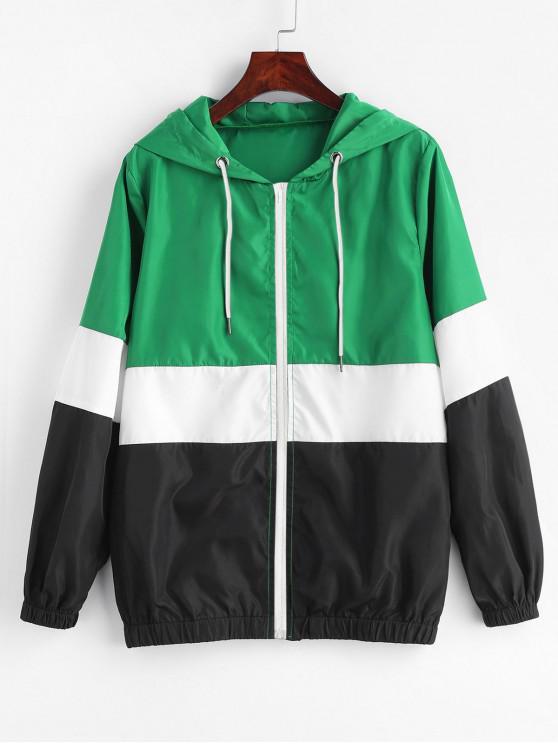 fancy ZAFUL Color Block Zip Up Windbreaker Jacket - MULTI-A L