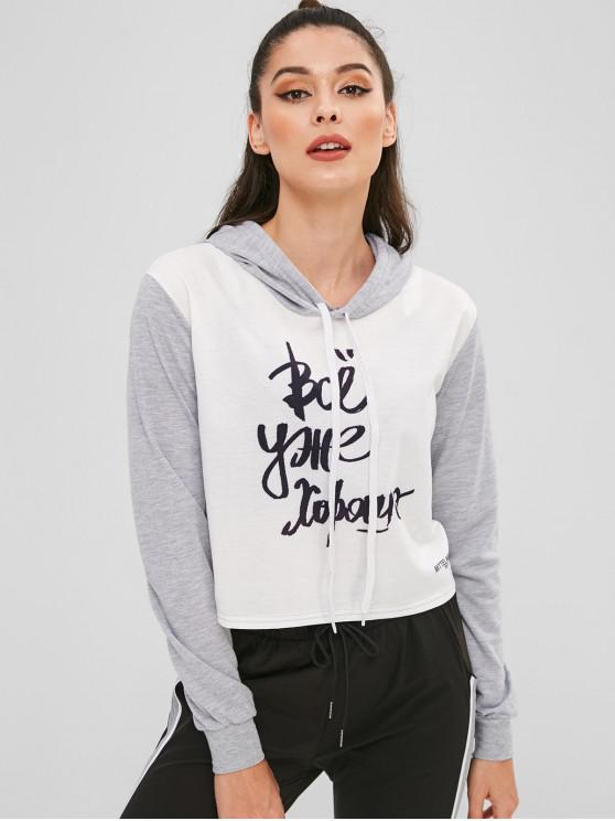 women's Contrast Graphic Tricolor Cropped Hoodie - LIGHT GRAY M