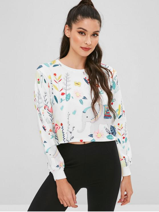 fancy Floral Animal Graphic Cropped Sweatshirt - MULTI L