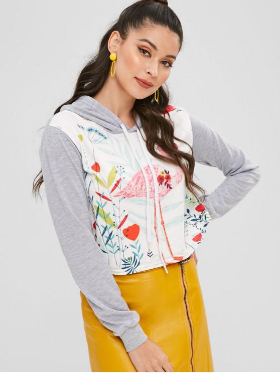 lady Floral Flamingo Graphic Cropped Pullover Hoodie - MULTI S