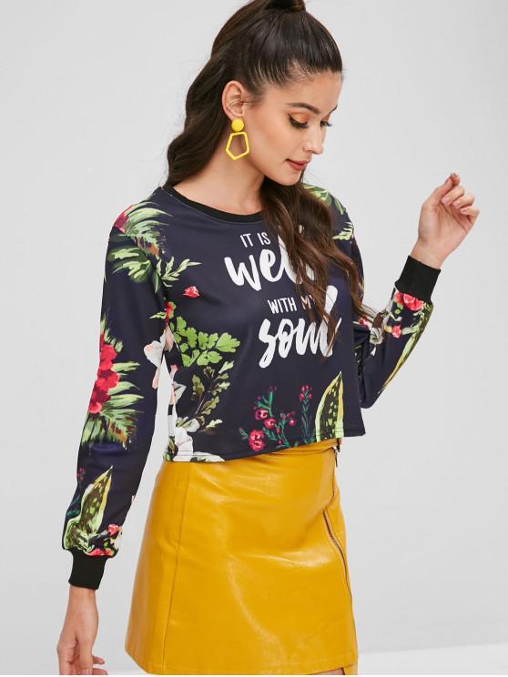 women Floral Graphic Printed Cropped Sweatshirt - BLACK S