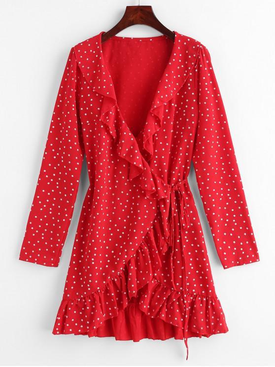 women's Star Ruffle Wrap Mini Dress - LAVA RED S