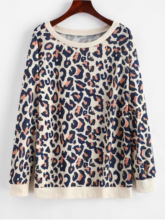fancy Leopard Print Pullover Sweatshirt - LEOPARD M