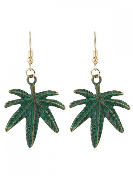 trendy Alloy Leaves Shape Hook Earrings - GREEN