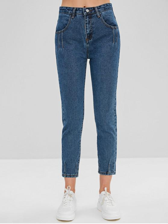 trendy Pleated-detail Straight Jeans - BLUE XL