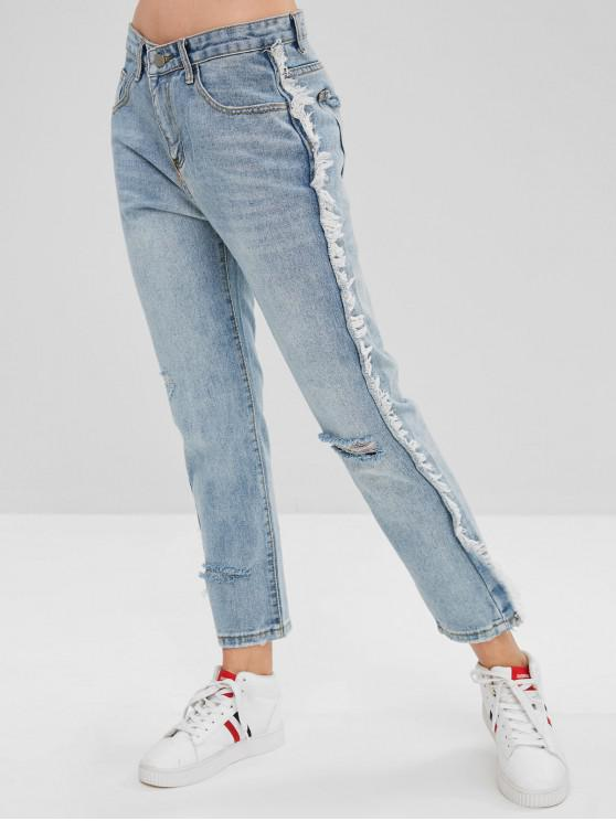 lady Frayed Trim Ripped Jeans - LIGHT BLUE L