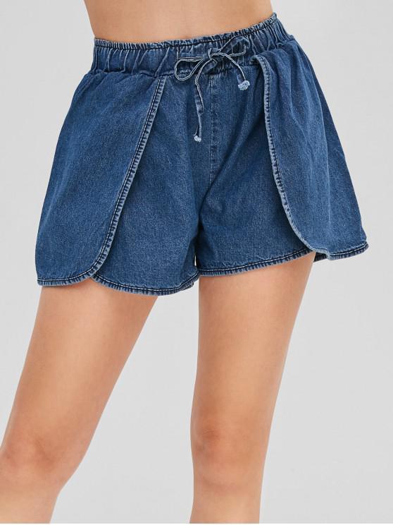 fashion Drawstring Overlay Jean Shorts - BLUE L