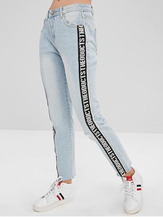 fancy Letter Patch Ripped Frayed Hem Jeans - LIGHT BLUE M