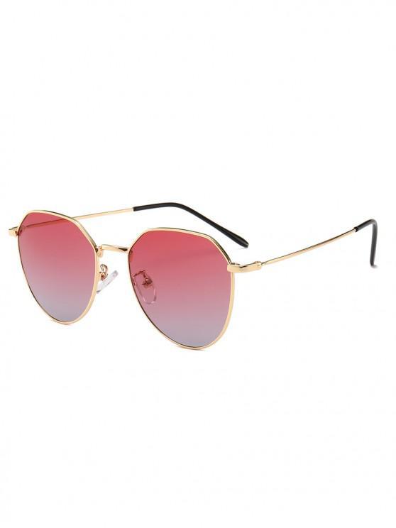 women Metal Frame Irregular Geometry Design Sunglasses - RED