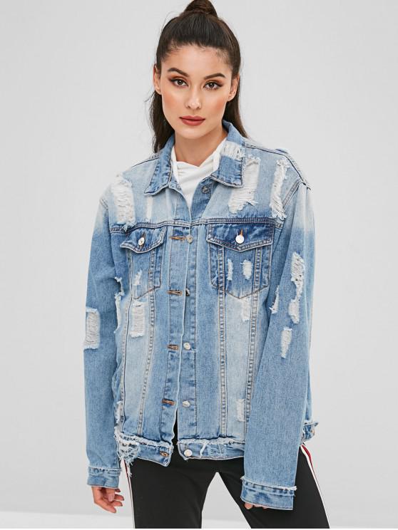 hot Distressed Boyfriend Denim Jacket - DENIM BLUE L
