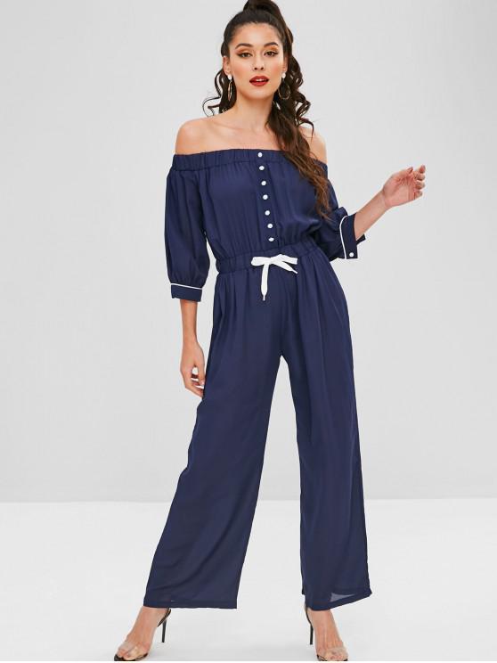 outfits Off The Shoulder Drawstring Wide Leg Jumpsuit - DEEP BLUE S