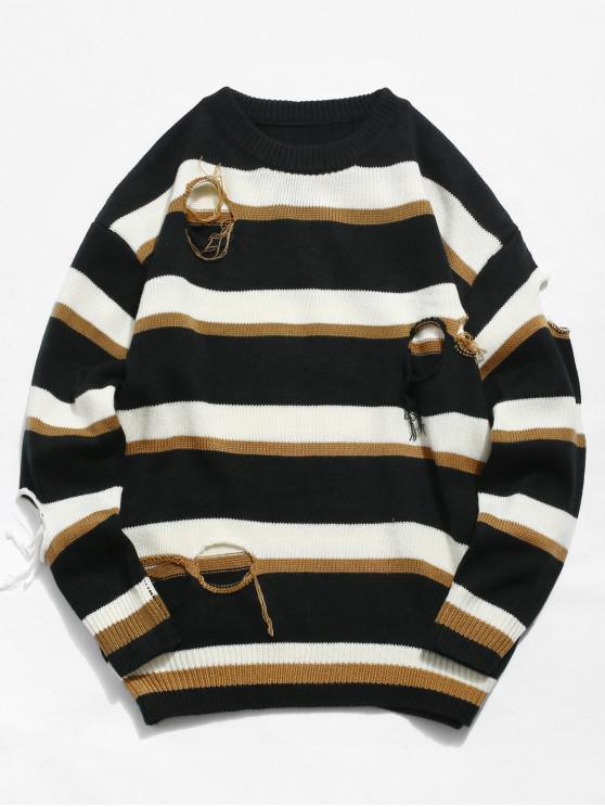 Round Hole Striped Knit Sweater - Canela XL