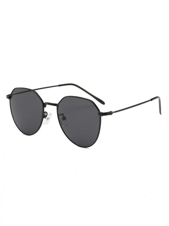 ladies Metal Frame Irregular Geometry Design Sunglasses - BLACK