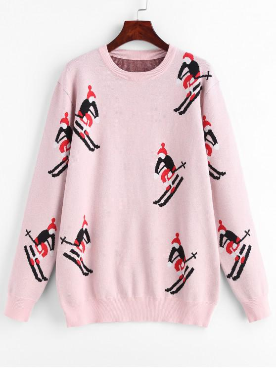 online Ski Graphic Longline Sweater - LIGHT PINK ONE SIZE